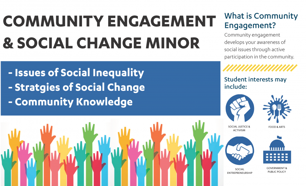 Community Engagement and Social Change minor develops your awareness of social issues through active participation in the community.